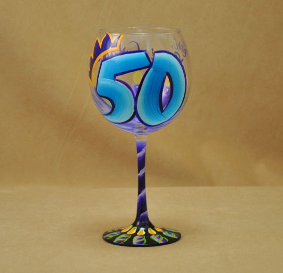 Hand Painted 50th Birthday Red Wine Glass with Candles and Crown