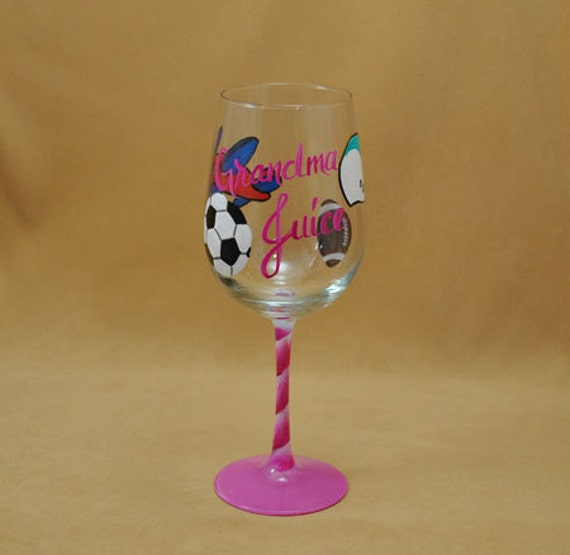 Grandma Juice Hand Painted Wine Glass
