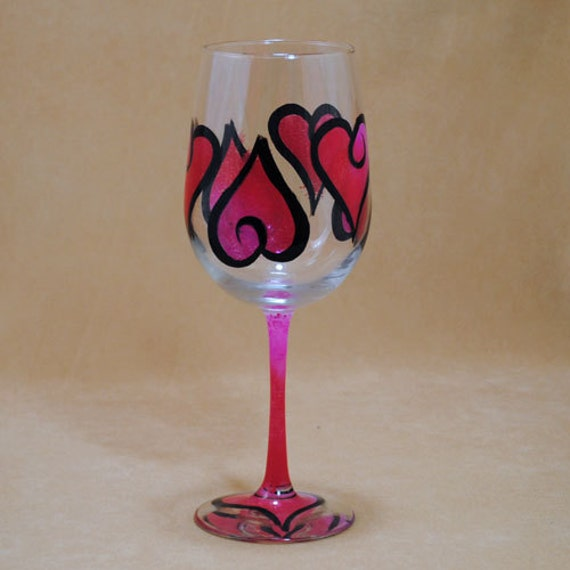 Hearts on a Hand Painted Wine Glass Inspired by Kosta Boda