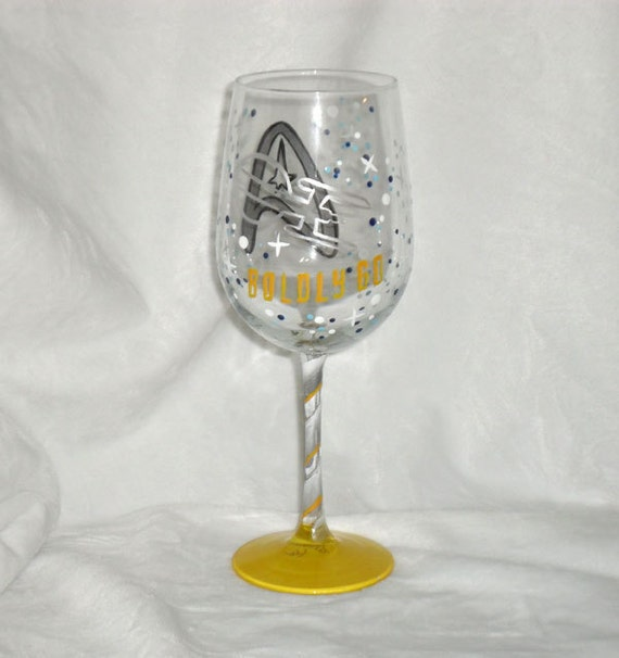 Star Fleet theme hand painted wine glass makes a special and personal gift