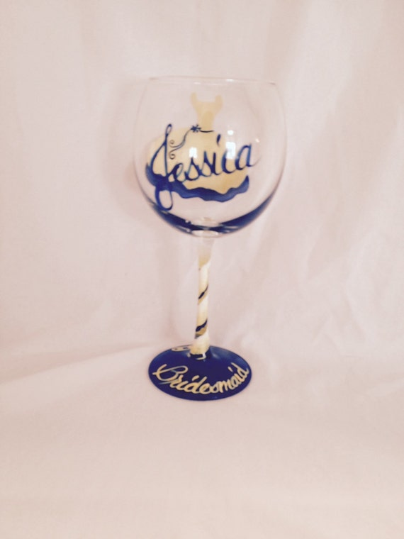 Bridesmaid dress hand painted on a wine glass