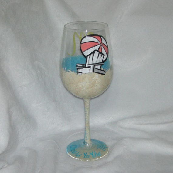 Beach Chair and Umbrella Hand Painted Wine Glass