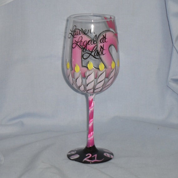 21st Birthday hand painted wine glass Legal at Last in Pnks, Black and Silver