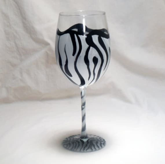 Zebra Stripe Hand Painted Wine Glass
