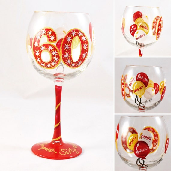 60th Birthday Hand Painted Wine Glass
