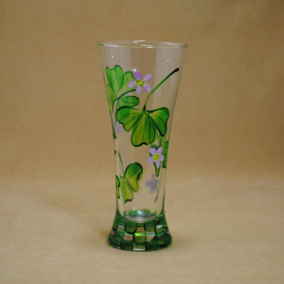 Hand Painted 12 oz Pilsner Glass with Shamrocks and Clover Flowers