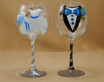 Bride and Groom Hand Painted Wine Glasses