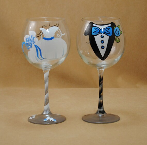 Personalized Hand Painted Red Wine Glasses for Bride and Groom with Blue Accents