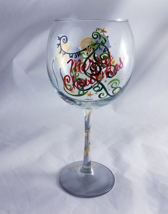 Merry Christmas and Happy New Year 2019 Hand Painted Red Wine Glass