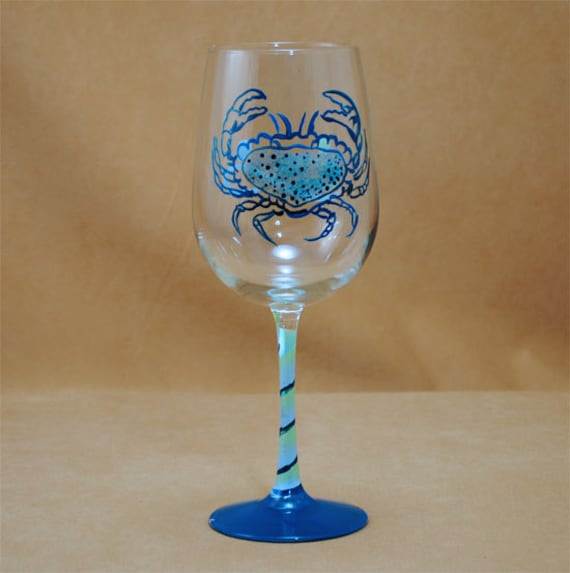 Blue Crab Hand Painted Wine Glass