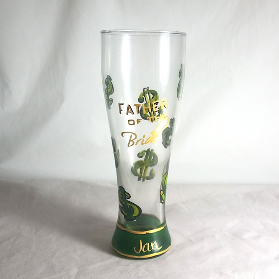 Father of the Bride Hand Painted Pilsner Glass