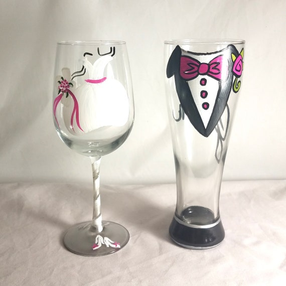 Hand Painted Bride and Groom Wine and Pilsner Glass Set
