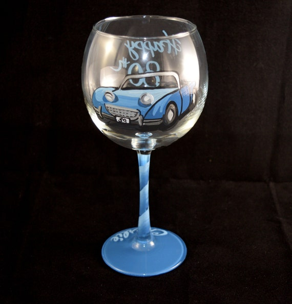 Picture of Your Car hand painted Wine Glass