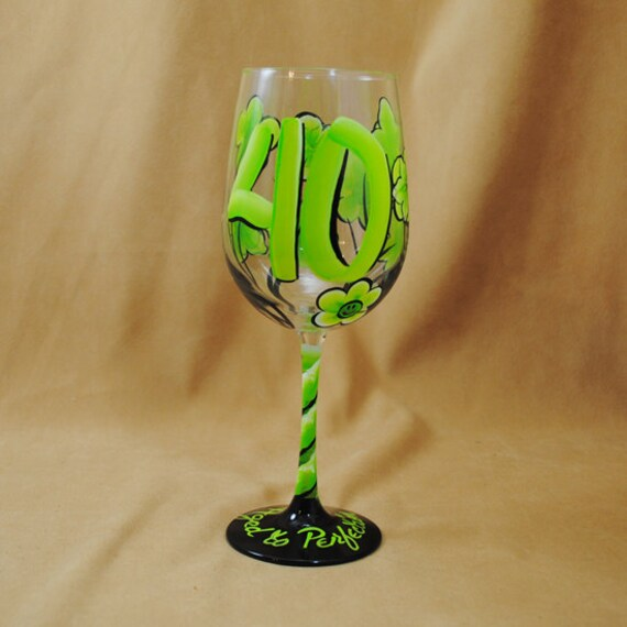 Personalized 40th Birthday Hand Painted Wine Glasses with Smiley Faces and Flowers