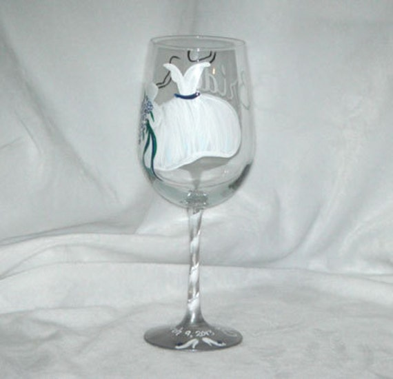 Bride Personalized Hand Painted Wine Glass