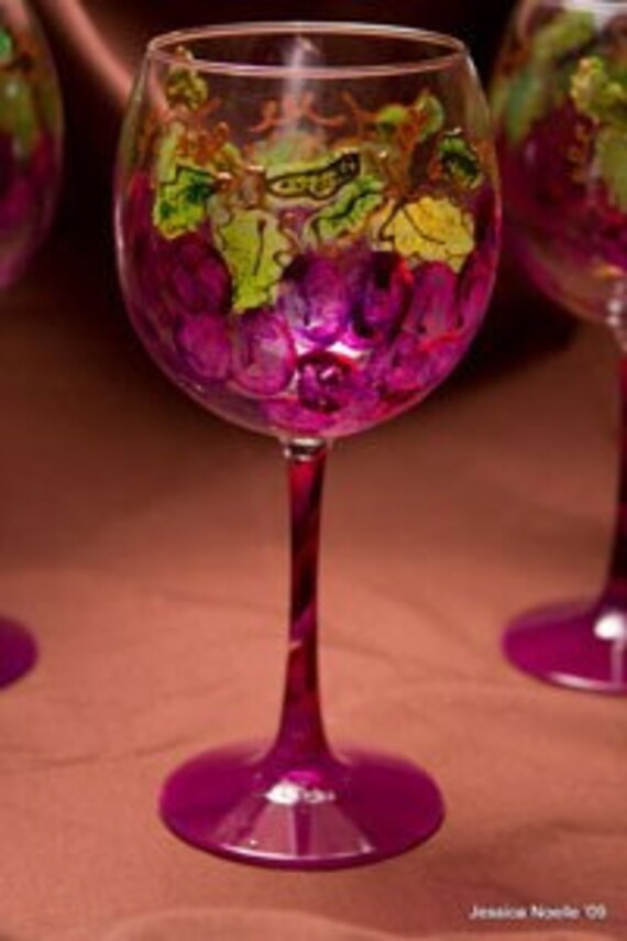 Grape Design Handpainted Wine Glass