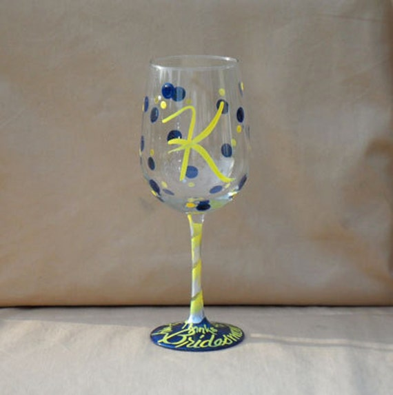 Thanks for being my Bridesmaid - Monogrammed Polka Dot Wine Glasses