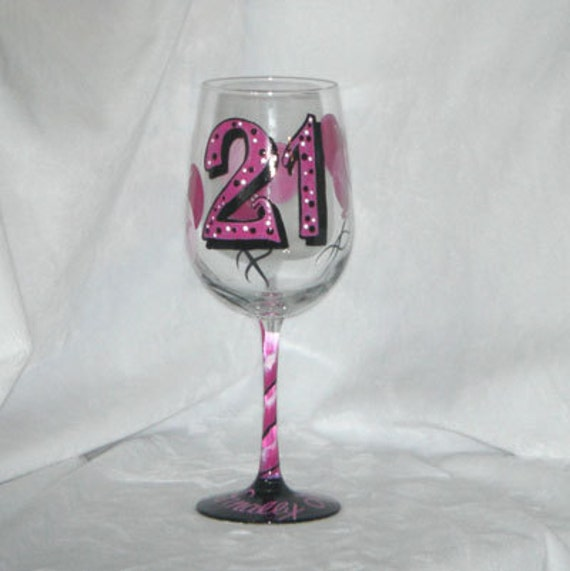 Birthday Hand Painted Wine Glass with Balloons in Pink-21st Birthday