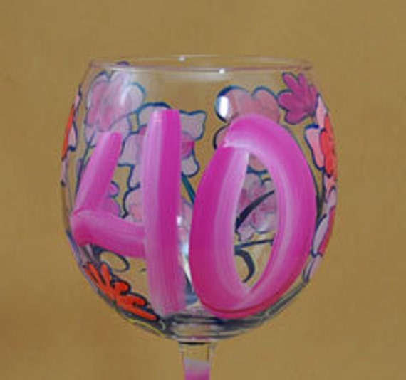 40TH Birthday Hand Painted Floral Wine Glass