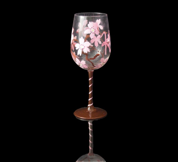 Cherry Blossom Patterned Personalized Hand Painted Wine Glasses