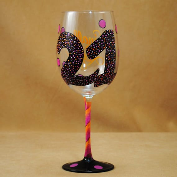21st Birthday Personalized Hand Painted Wine Glass