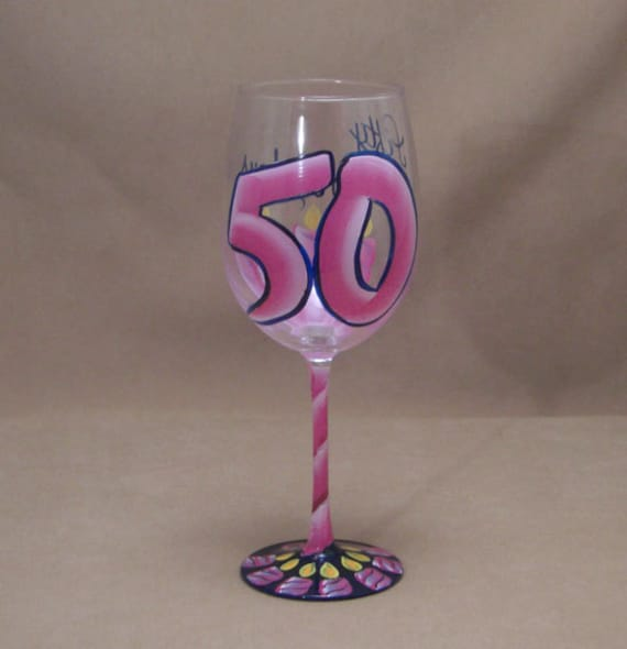 50TH BIrthday - 50 is Fabulous - Hand Painted Wine Glass