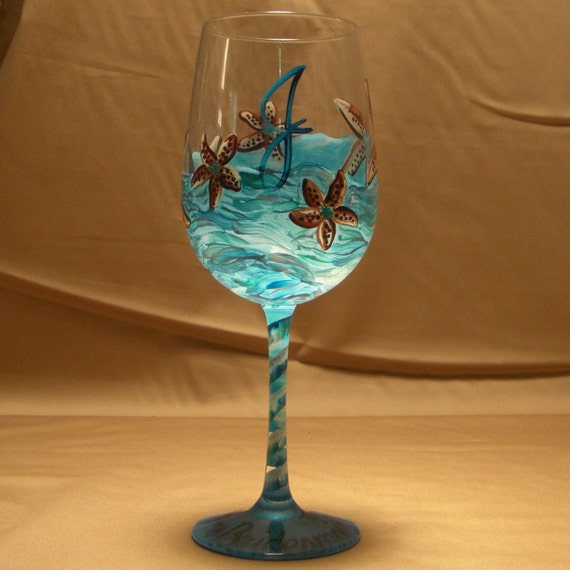 Starfish Pattern Personalized Hand Painted Wine or Martini Glass