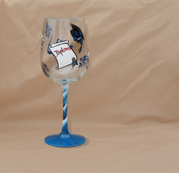 Graduation Theme Hand Painted Wine Glass