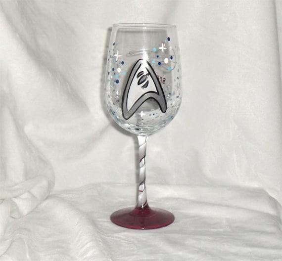Star Trek Inspired Hand Painted Wine Glass