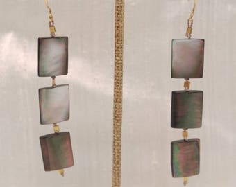 Mother of Pearl Earrings, Hand Knotted on Silk