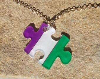 Genderqueer pride necklace puzzle piece flag gender queer purple white green