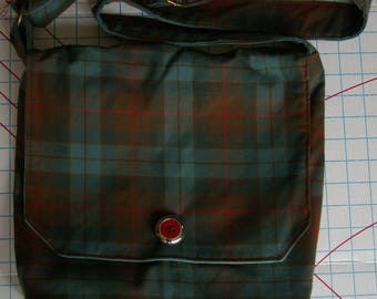 Karens Messenger Bag - Green and Red Plaid