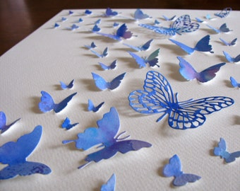 11X14 Handpainted, Watercoloured 3D Butterfly Wall Art / Blues and Hint of Mauve / Gift Yourself or Others / Ready to Ship