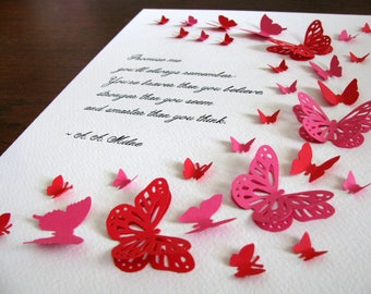 8X10 Remember You Are Braver, Stronger, Smarter by A. A. Milne 3D Butterfly Art / As Shown or Your Choice of 2 Colors / Made to Order