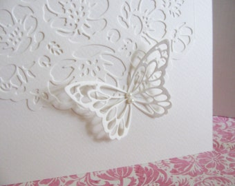 5X7 Floral Lacy Panel on Creamy Ivory Card with Butterfly Adorned with Faux Pearls / Engagement / Wedding / Anniversary / Ready to Ship