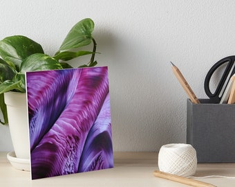 Encaustic Purple Violet Ridges Abstract Art Board / Art for Small Spaces / Collectible Small Format Art / Made to Order in 3 Sizes