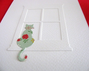 Sample Curious Cat Sitting on Windowsill Creamy Ivory Card in YOUR Color Choice for Cat (Paper Shown Not Available) A2 size. Made to Order