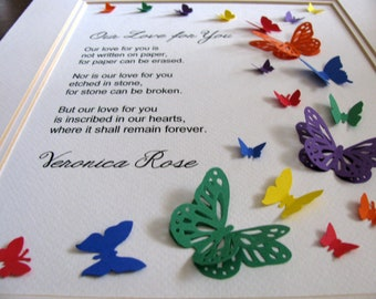 8x10 Rainbow Our Love for You Fluttering Skyward / Personalized 3D Memorial Butterfly Word Art / Loss, Grief / Made to Order