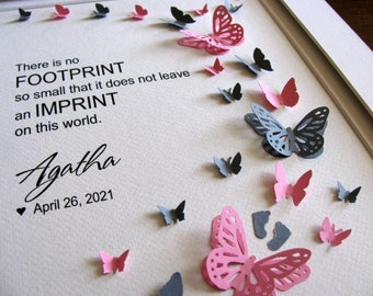 No Footprint Too Small Personalized 3D Butterfly Memorial Art / Infant Loss, Miscarriage, Stillbirth / 8x10 / Made to Order
