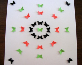Intro SPECIAL Freehand Pattern 3D Butterfly Art as Shown in Black, Neon Orange, Neon Green / 11x11 inches / Ready to Ship