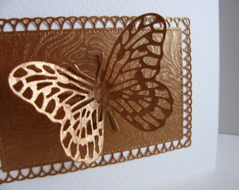3D Shimmery Copper Butterfly & Rectangular Panel on Creamy Ivory / Your Special Occasion / Share Your Heart / A2 Size / Made to Order