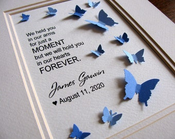 5X7 Arms for a Moment, Heart Forever SINGLE Name 3D Butterfly Memorial Art Personalized / YOUR Color Choices / Infant Loss / Made to Order