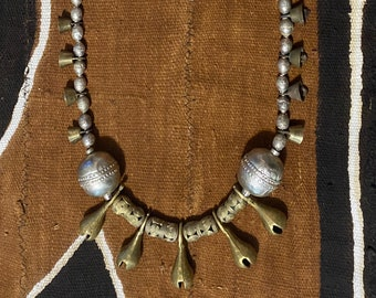Shaman Bell necklace with Ethiopian Prayer Beads and African Lost-Wax Brass 001640