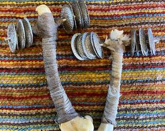 Deer Bone Handle Rattle, White Copper Jingles, Rawhide Goat Lace Wrap, 001626
