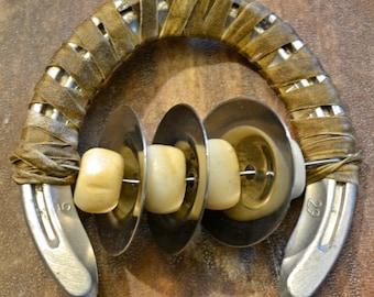 Horseshoe Sistrum, Silver Bellydance Zils, Kenyan Cow Bone Beads, Horse Rawhide Lace 001582