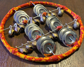 Circular TWO SOUND Sistrums! Fabric-wrapped ring, Pro Tambourine Jingles vs. Brass Bells 001644 Free Shipping