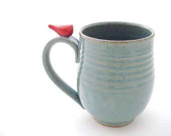 Large Handmade Pottery Mug With a Little Red Bird