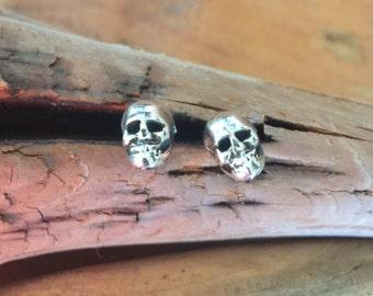 E363 Sterling Silver Framed Mini Skull Earrings  Southwestern Native Santa Fe Style