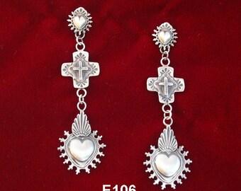 E106 Taos Sacred Heart Galisteo Cross Mesilla Burning Heart Southwestern Jewelry Sterling Silver Earrings from Santa Fe