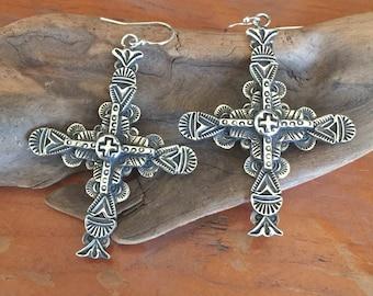 E38A Multi Layered Sterling Silver Carmel Cross with Tesuque cross southwestern sterling silver jewelry earrings from Santa Fe